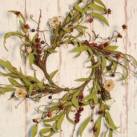 "Teastain Flower & Berries 12"" Wreath"