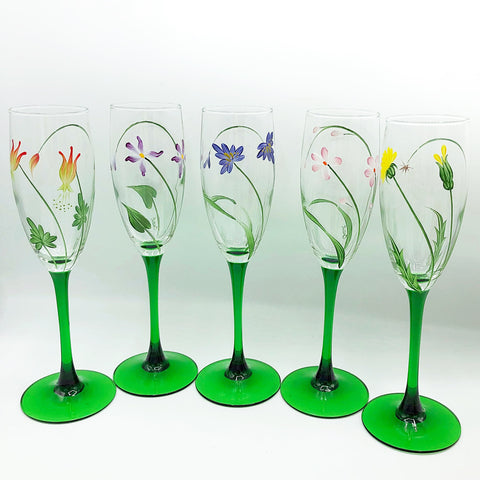 Set of 5 Wildflower Handpainted Champagne Glasses