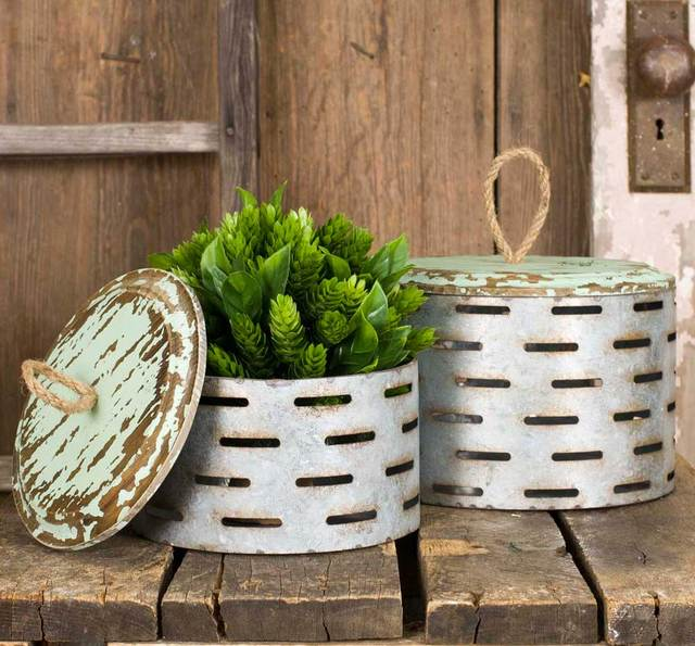 Set of 2 Distressed Round Metal Perforated Boxes with Wood Lids and Rope Handles