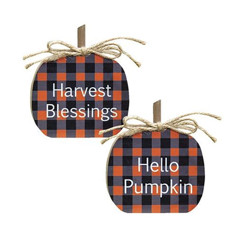 Set of 2 Orange Buffalo Check Sentiment Pumpkin Blocks