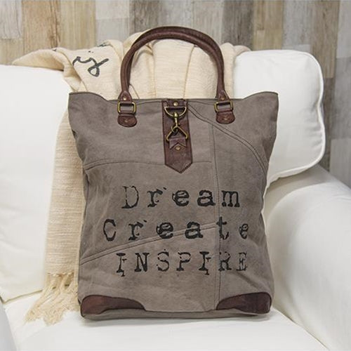 Dream Create Inspire Tote Bag with Typewriter Font