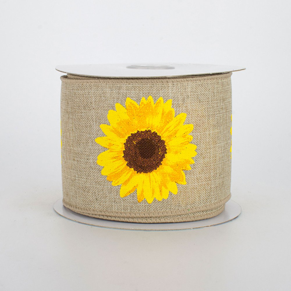 "Bold Sunflower on Natural Background Ribbon 2.5"" W x 10 yards"
