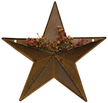 "Rust & Black Finished 12"" Metal Pocket Star"