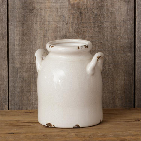 "Farmhouse Distressed White Crackle Pottery 7.5"" Crock Utensil"
