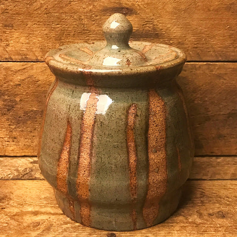 Pottery Crock with Lid in Earthen Tan and Sage - lid is glued