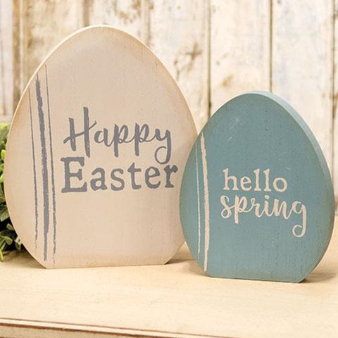 Set of 2 Happy Easter Wooden Egg Shelf Sitters