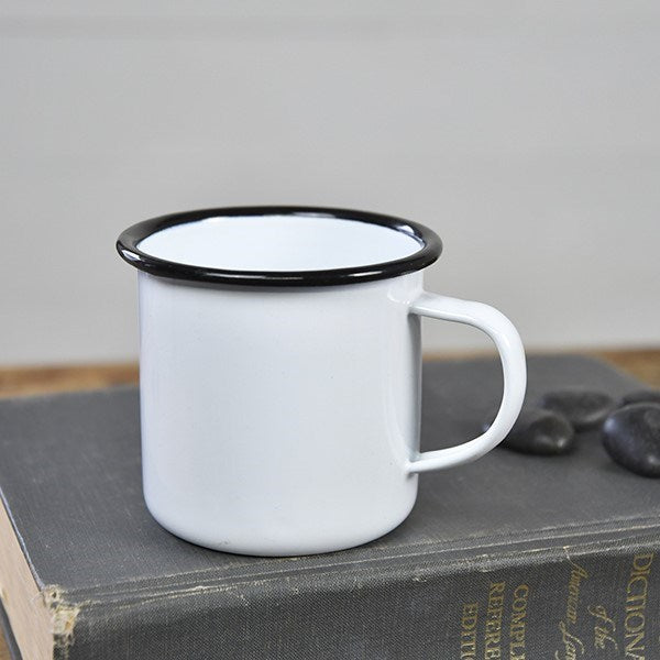 Medium White Enamelware Cup with Black Trim