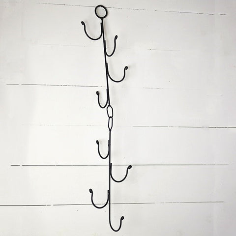 "Black Metal Basket Hanger - 8 hooks 40"" long"