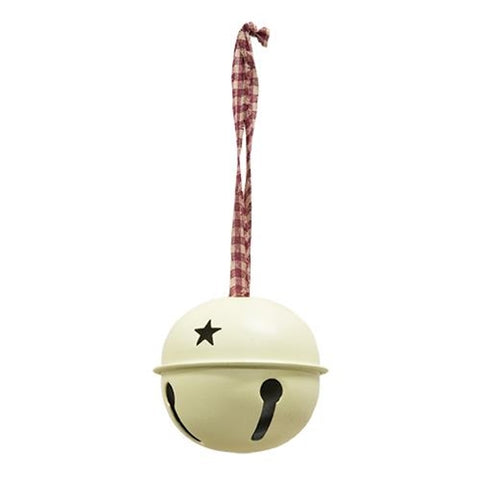 "Antique-White 3"" Jingle Bell with Gingham Hanger"