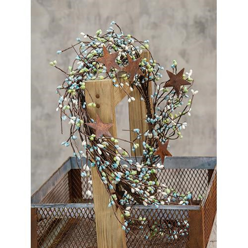 "Seabreeze Pip Berry 40"" Garland With Stars"