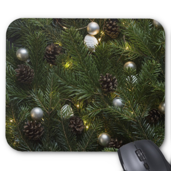 Christmas Mousepad - Pinecones and Ornaments - Mouse Pad