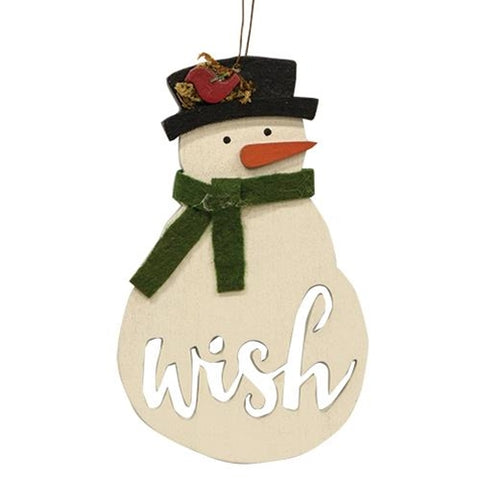 Snowman Wish Wooden Ornament