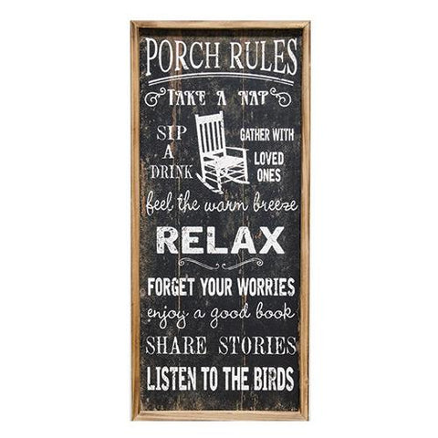 "Porch Rules - 31"" Large Wooden Slat Sign"