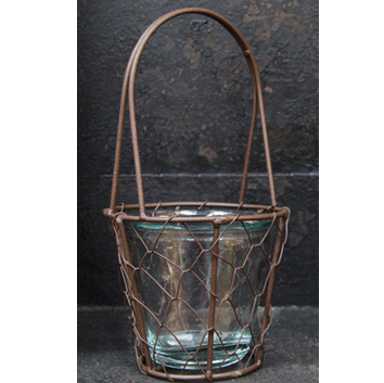 Chicken Wire Basket with Glass Insert