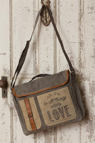 Do All Things With Love Canvas Messenger Bag