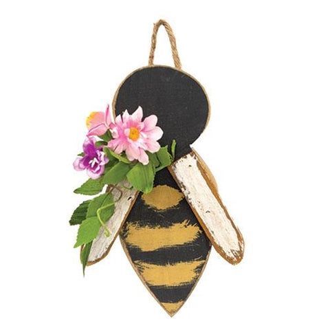 Rustic Wood Bee With Floral Accents Hanging Decor