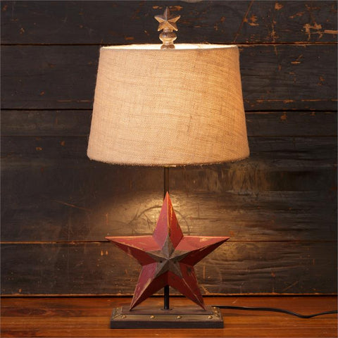 Rustic Barn Star Lamp with Burlap Shade