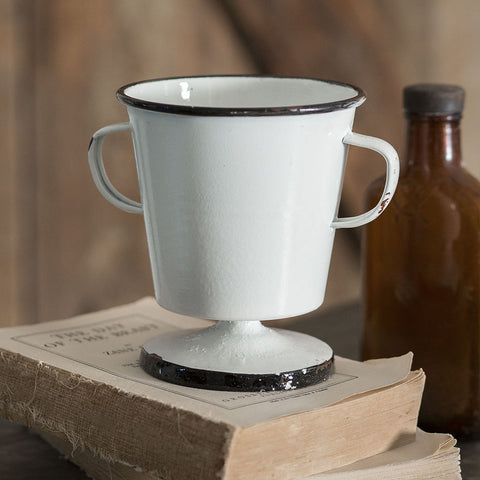 White Vintage-Style Cup with Handles and Black Trim
