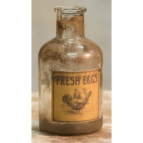 "Fresh Eggs Rustic Chickens 5"" H Bottle"