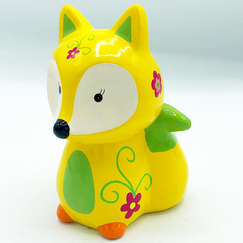 Yellow Floral Fox Coin Bank