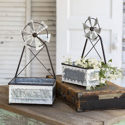 Set of Two Galvanized Metal Rustic Windmill Planters