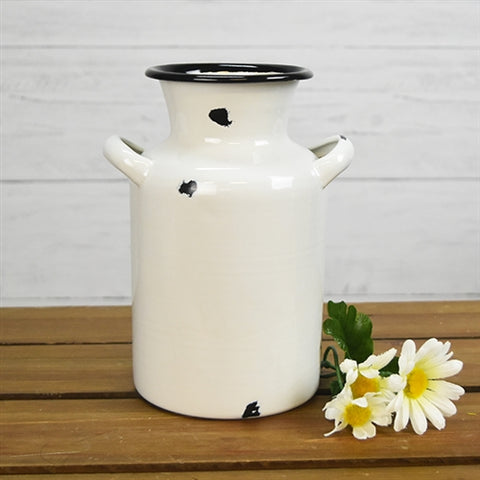 "Distressed White Enamelware Milk Can 8"" H"