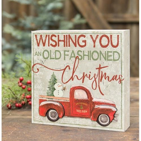 Old Fashioned Christmas Truck Box Sign
