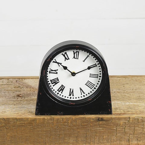 Pressed Tin Distressed Black and White Desk Clock