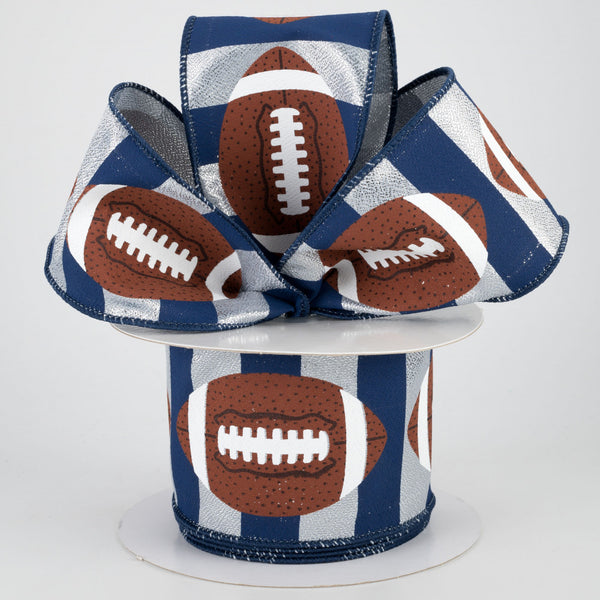 "Footballs on Silver and Navy Blue Stripe Ribbon 2.5"" x 10 yards"