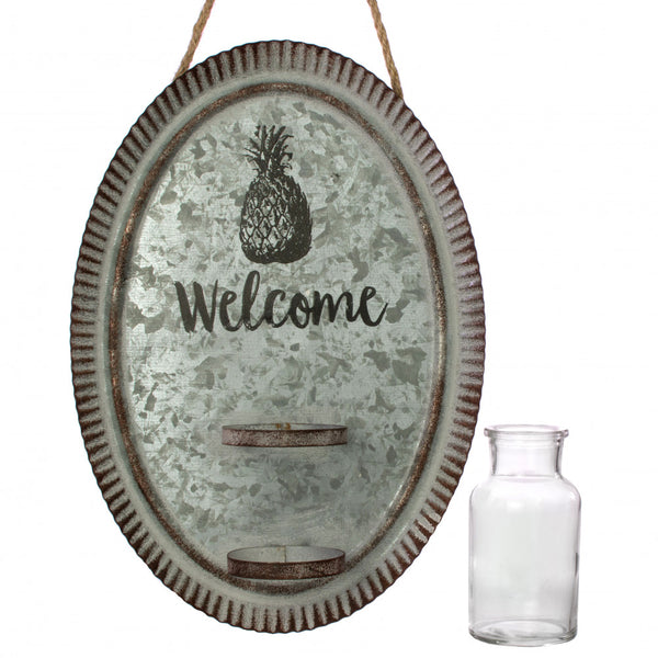 Welcome Pineapple Oval Galvanized Metal Wall Vase