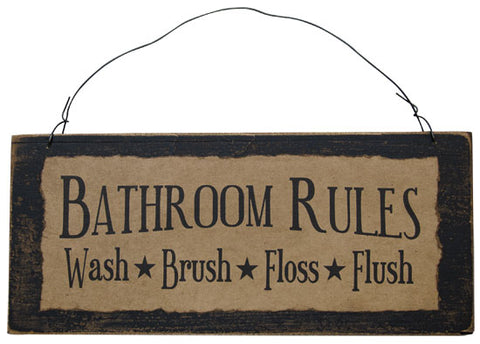 "Rustic Bathroom Rules 12.5"" Wooden Sign"