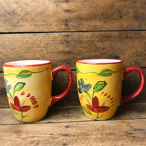Set of Two Pfaltzgraff Palermo Mug 7605697 Yellow, Red, and Blue Flower