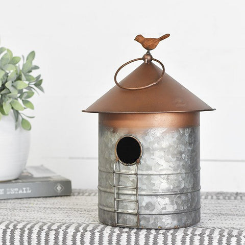 Copper Tone Topped Birdhouse with Ladder