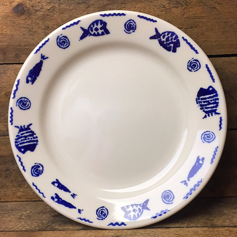"Homer Laughlin Blue Fish 9"" Plate"