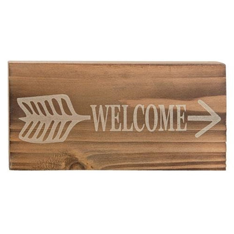 Welcome Arrow Mini Rustic Block Sign