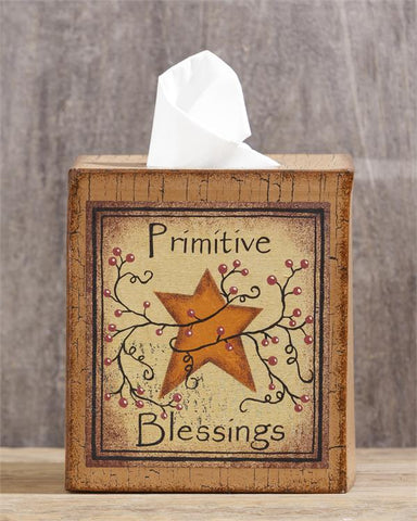 Primitive Blessings Berries and Star Tissue Box Cover