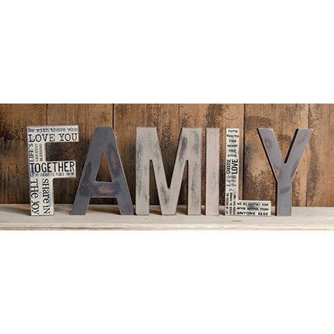 "Free Standing FAMILY Letters 8"" H, set of 6 letters"