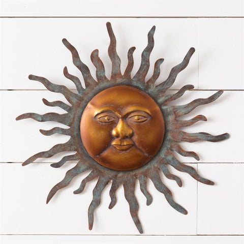 Copper-tone Weathered Sun Face Wall Hanging