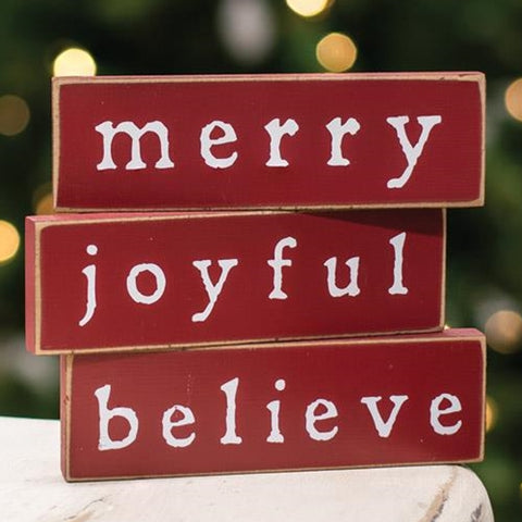 Merry Joyful Believe Set of 3 Thin Mini Sign Blocks