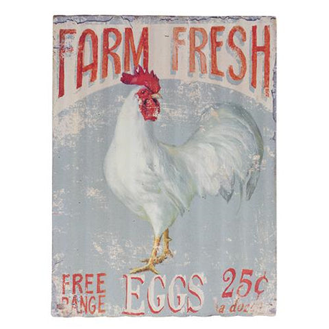 Free Range Eggs Corrugated Tin Sign