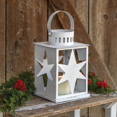 White Distressed Star Lantern