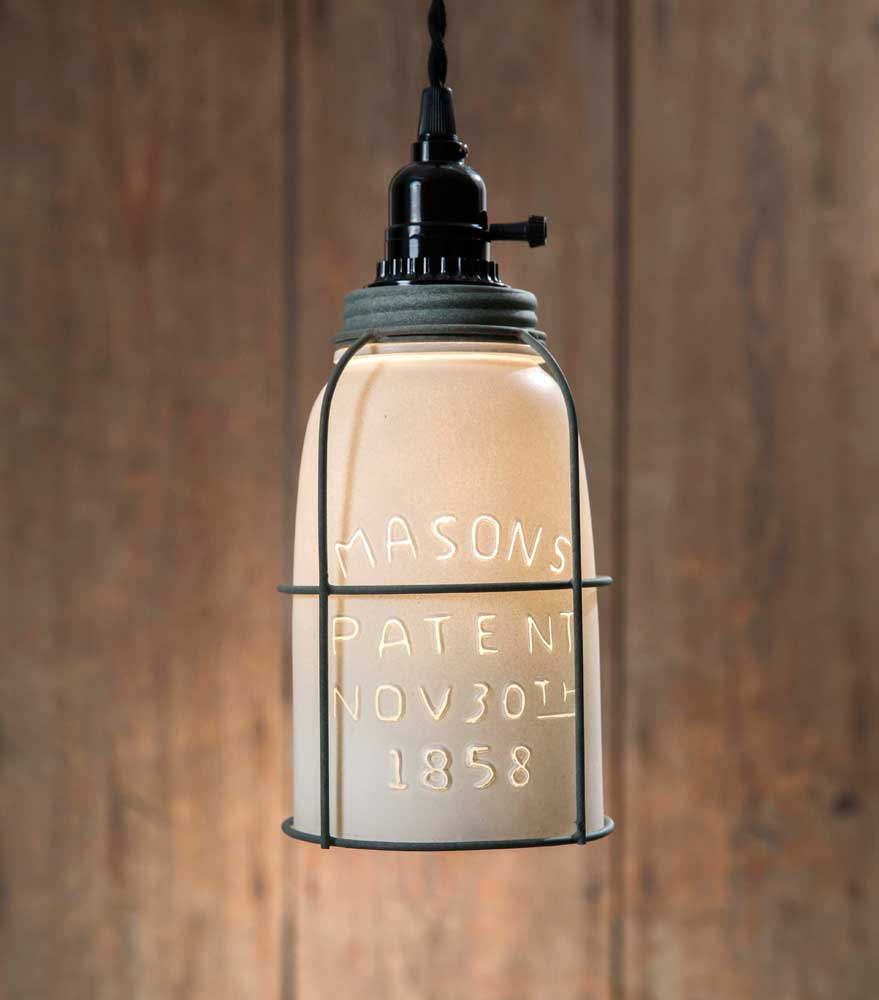 White Half Gallon Caged Mason Jar Pendant Lamp