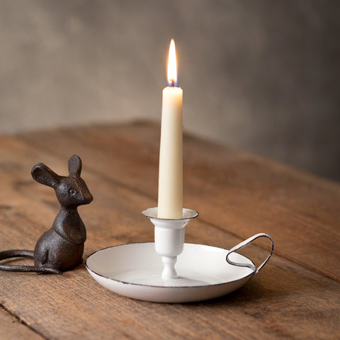 White Taper Vintage-Style Candle Holder