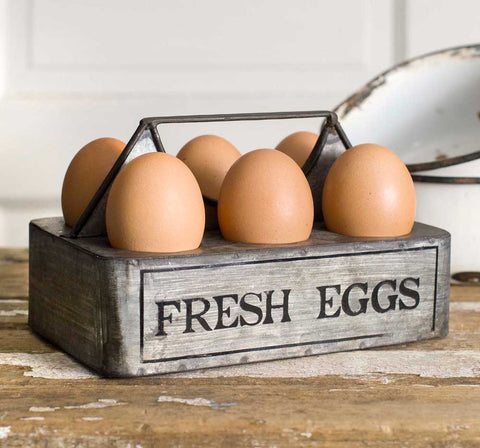 Fresh Eggs Farmhouse Caddy - holds 6 eggs
