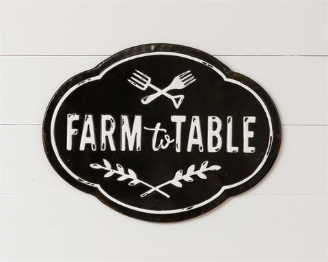 Farm To Table Distressed Metal Sign