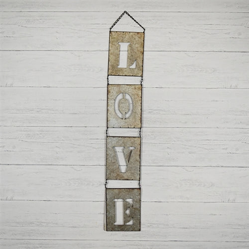 Tin Cut-Out Love Hanging Sign 36""