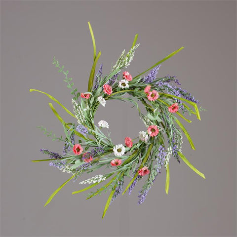 "Natural Coral & White Daisies Heather and Foliage 15"" D Wreath"