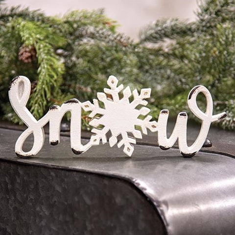 Snow Cut Out Script Sitter Resin Sign