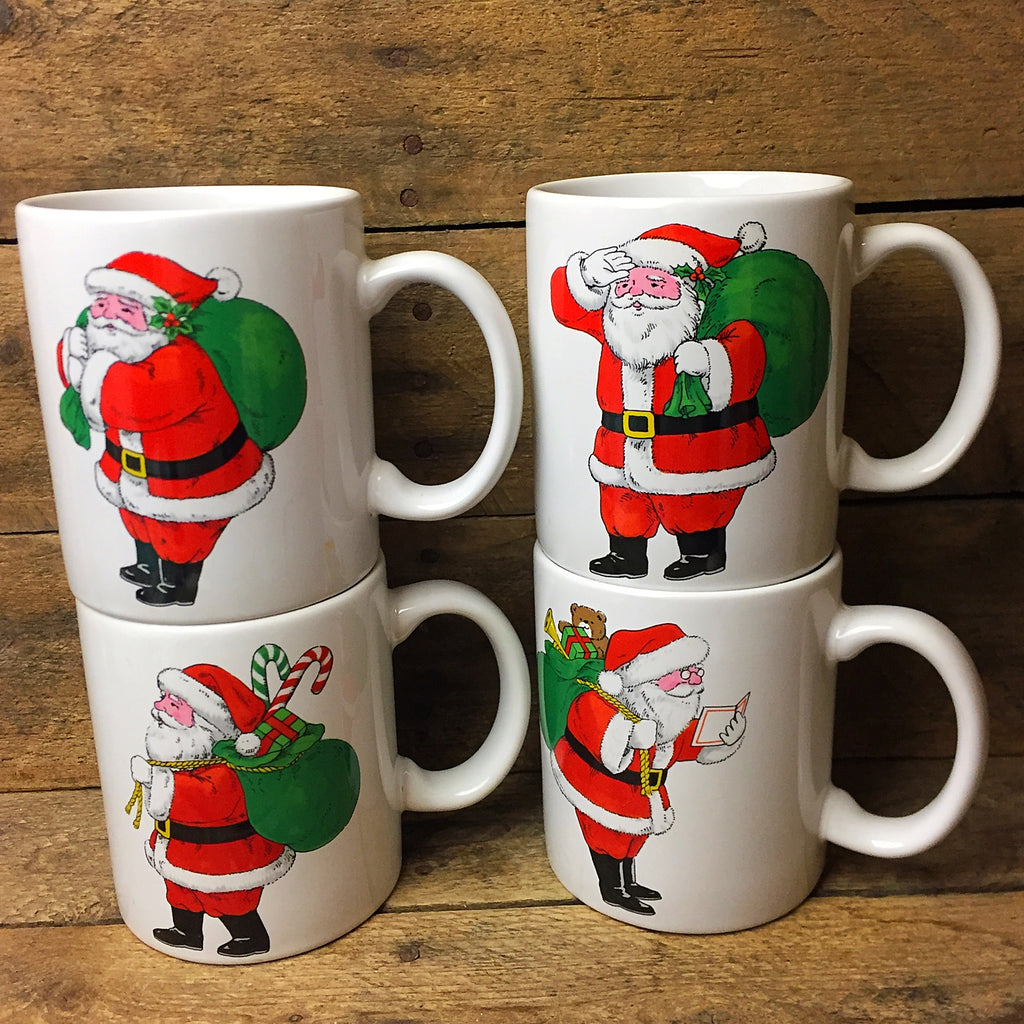Set of Four Santa with Toy Sack Mugs Kashima