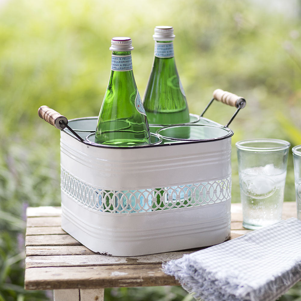 Square White Four Bottle Metal Caddy